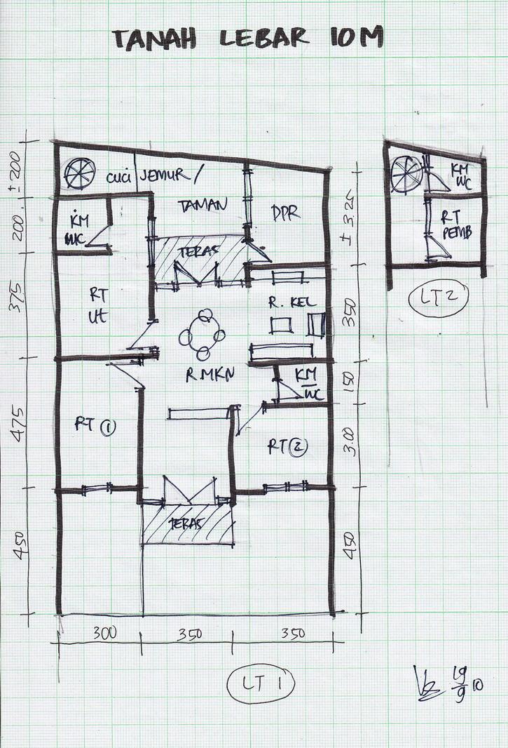 denah lebar 10 meter gambar rumah
