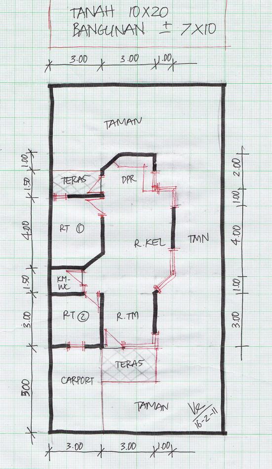 Gambar Denah Rumah Minimalis 2 lantai Luas Tanah/LT 90m2