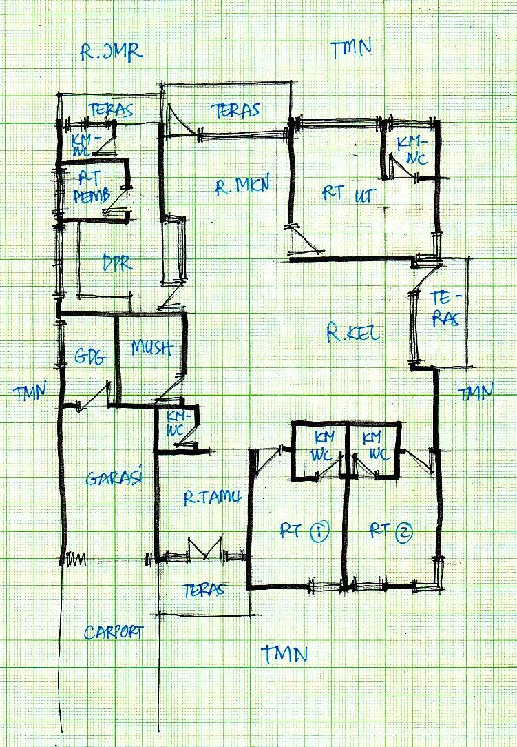 denah lebar 14 meter gambar rumah