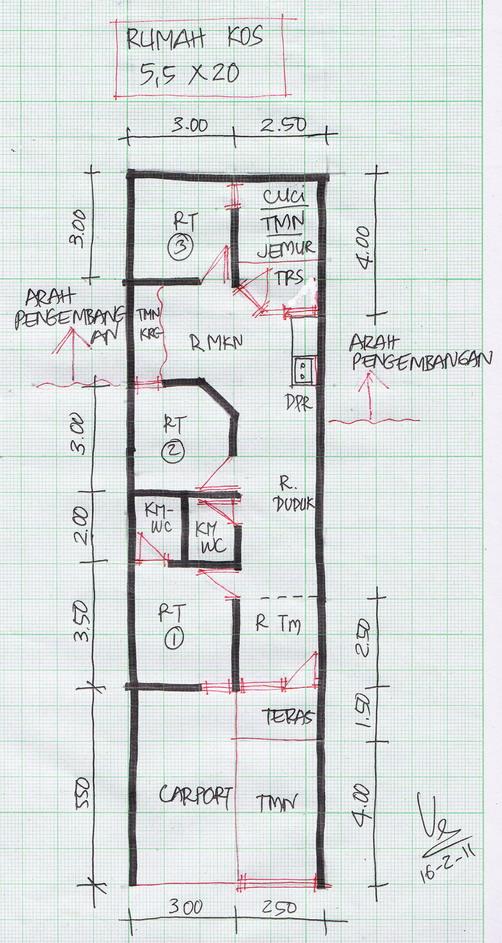 Denah Rumah Tinggal Lebar 5 Meter Gambar Rumah Idaman Com