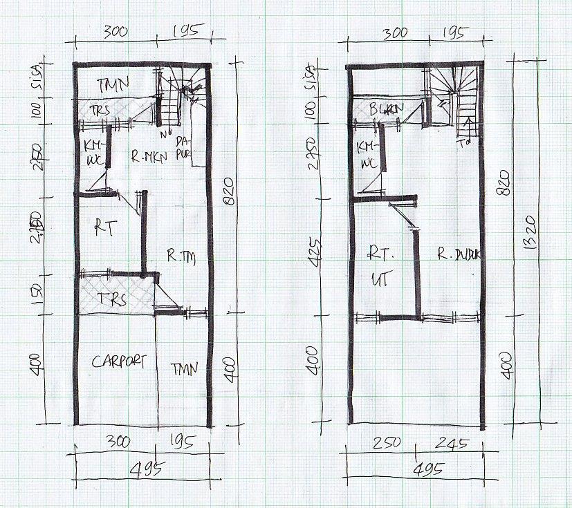 Rumah Minimalis Lebar 5 Meter Denah Lebar 5 Meter 2 Lantai