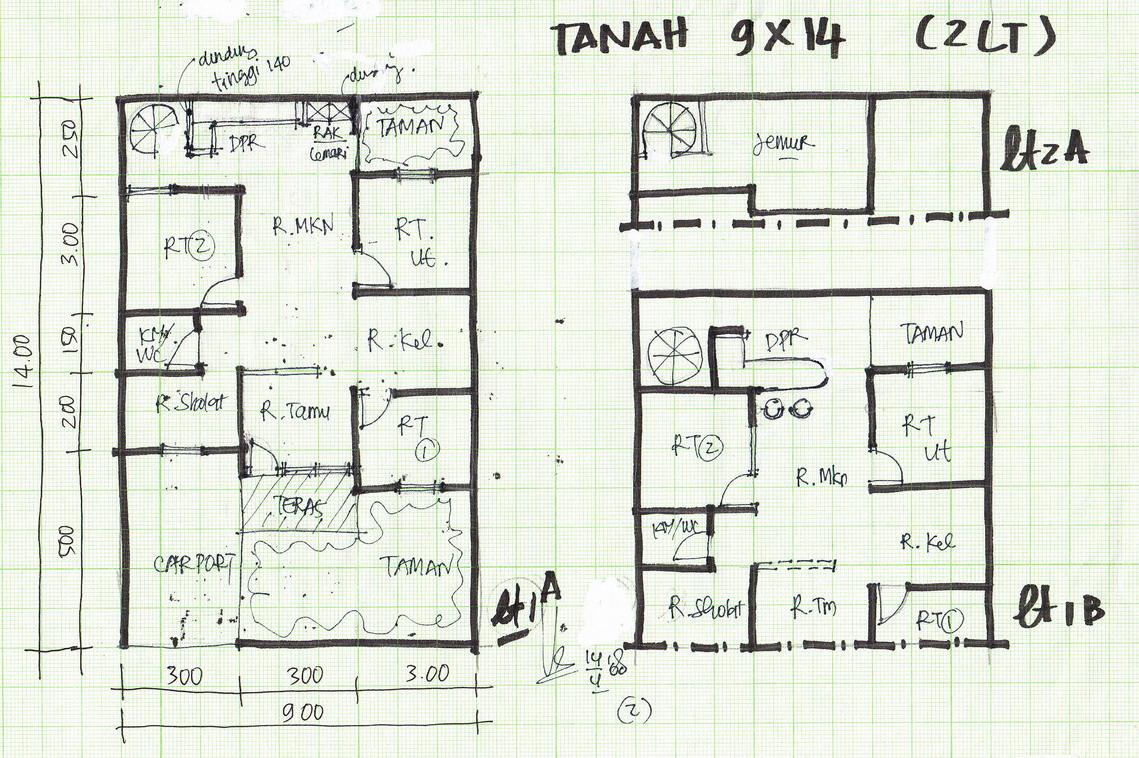 denah lebar 9 meter gambar rumah