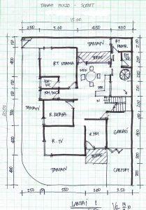 denah lebar 15meter 1 lantai rumah pojok