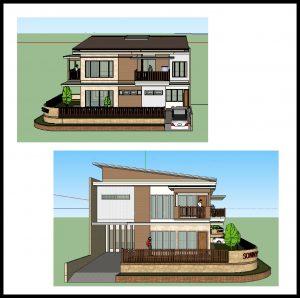 desain Rumah Sudut atap 1 sisi